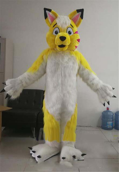 Christmas Carnival Theme Outfit.Halloween Yellow Husky Dog Mascot Costume Cartoon Wolf Anime Theme Character Christmas Carnival Party Fancy Costumes Adult Outfit Aladdin Costumes