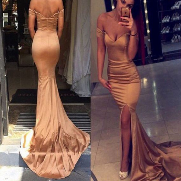 Simple Rose Gold Mermaid Tight Prom Dresses off the shoulder Front Slits Formal Evening Gowns Backless Long Special Occasion Dresses 2018
