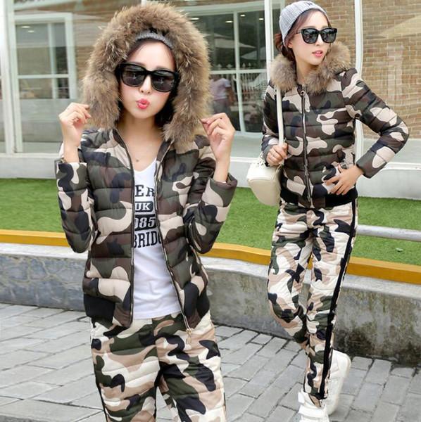 New Winter Women Camouflage Hooded fur collar Warm Down jacket Parka Suits (Coat+Pants Sets ) Winter Outwear 30