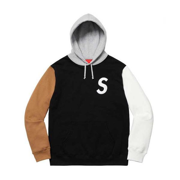 S Logo Colorblocked Hooded Sweatshirt High Street Cotton High Quality Crewneck Couples Women And Men's Designer Hoodies HFKYWY015