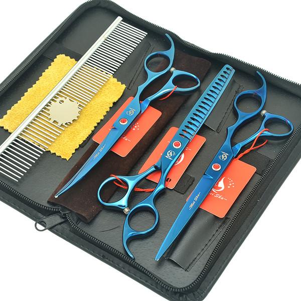 "Meisha 7.0"" Puppy Grooming Scissors Set Fish Bone Thinning Tesouras Dog Hair Straight Curved Cutting Shears Comb Bag Kits HB0230"