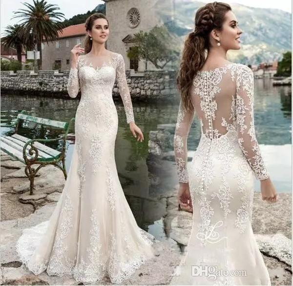 2020 Vintage Mermaid Wedding Dresses Sheer Neck Illusion Long Sleeves Lace Appliques Bridal Dresses Sweep Train Plus Size Bridal Gowns
