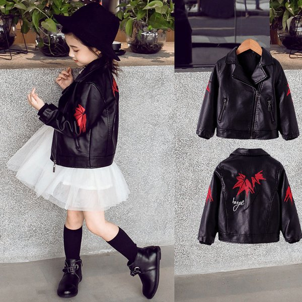 Fashion Kids PU Leather Jacket Black Embroidery Vintage Cardigan Coat for Girls 3-12years Fleece Lining Bomber Outerwear Clothes