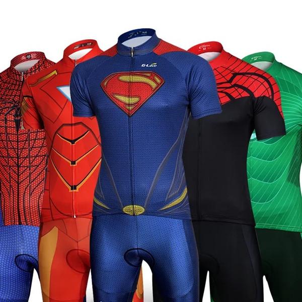 Juego de camisetas de ciclismo de la serie Hero Superman Batman Bicicleta de manga corta Ropa cómoda para bicicletas Jerseys Tamaño S - XXXL Capitán América Iron Man