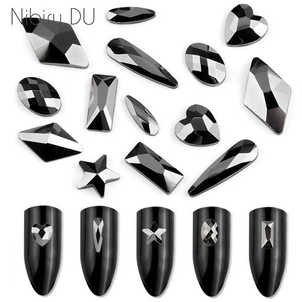 ail Art Rhinestones Decoraciones 20 piezas Jet Crystal Strass Stones Dark Hue Múltiples formas Glass Nail Rhinestones para uñas Art 3D Decorat ...