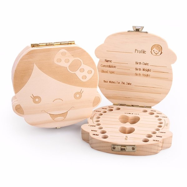 English /Spanish /Russia /French/Text Baby Boy Girl Fallen Tooth Box Storage Natural Wood Case Save Milk Teeth Collection