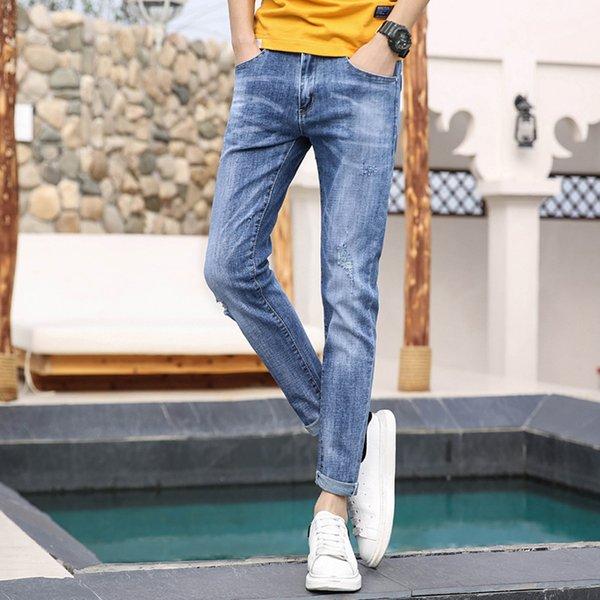 Sonbahar Erkek Kot 2019 Yeni Moda Vintage Denim Kalem Pantolon Rahat Streç Pantolon Seksi Delik Erkek Fermuar Pantolon Yırtık