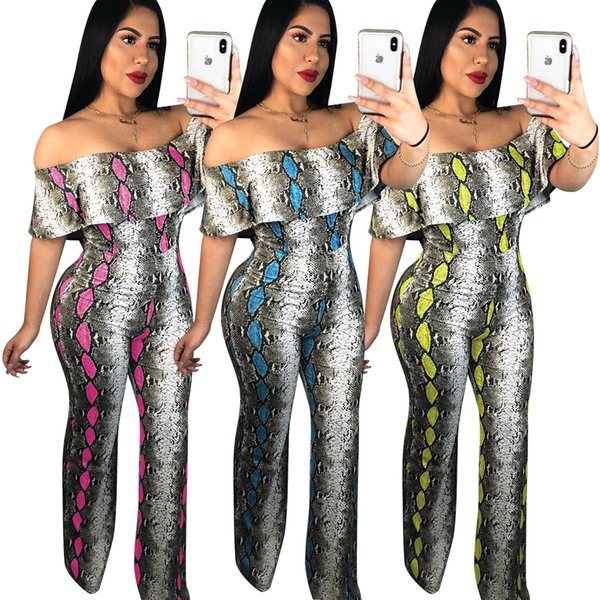 New Design Snake Printing Fashion Party Club Jumpsuits Rompers 2019 Summer Slash Neck Short Sleeves Long Straight Pants Club Jumpsuits