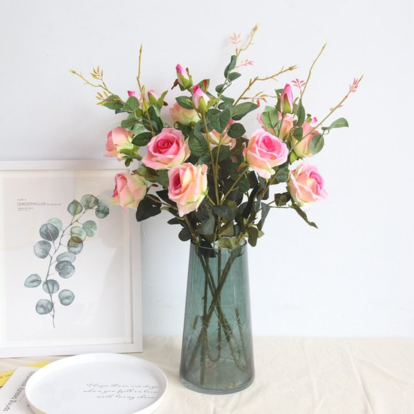 3 Heads Artificial Rose Wedding Decoration 87cm Silk Flowers Craft Flowers Real Touch Flowers Elegant Rose Bouquets MW03333