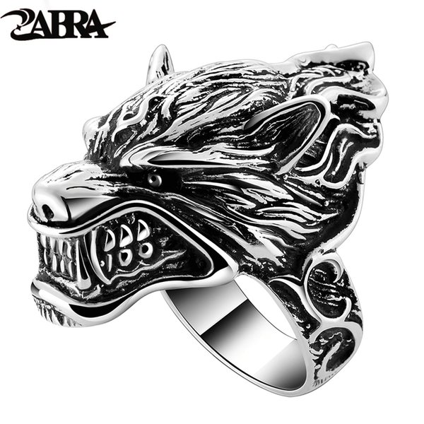 Solid 925 Sterling Silver Wolf Mens Biker Ring Game Of Throne House Stark Of Winterfell Direwolf Vintage Punk Rock Gothic Rings C19041203