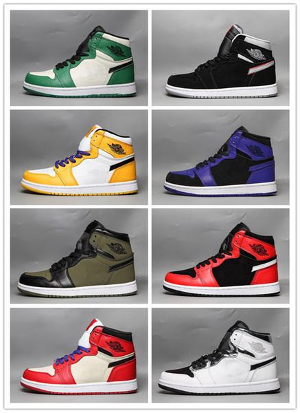 2019 Nouveau 1 OG Hommes Chaussures De Basketball Chicago Noir ciment Blanc Armée Vert Pourpre 1s Femmes Designer Chaussures Sneakers 36-46 Avec la boîte