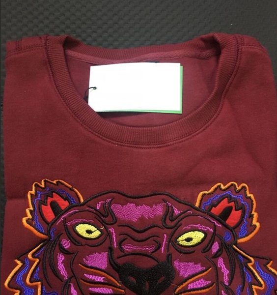 Embroidery tiger head sweater man woman high quality long sleeve O-neck pullover Hoodies Sweatshirts jumper best quality Black Maroon S-XXL