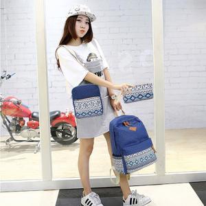 Three-Piece Canvas Print Students Backpack Travel Laptop Rucksack Lady Shoulder Bag Set Girls Dot Backpack LLA155