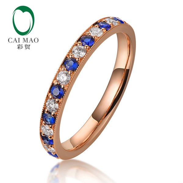 CAIMAO Half Eternity Natural Blue Sapphire and Brilliant Diamonds Engagement Wedding Band for Unisex Vintage Milgrain 14k Gold