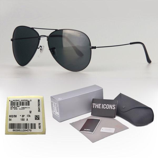 Yüksek kaliteli Metal Çerçeve cam Lens Marka Tasarımcısı Pilot Güneş Erkek Kadın Sürüş gözlük ücretsiz kılıfları ve etiket ile UV400 Gözlüğü