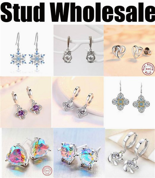 manufacturer wholesale earrings stub for women cheap high quality silver jewelry 2019 new free shipping designer blue round white round
