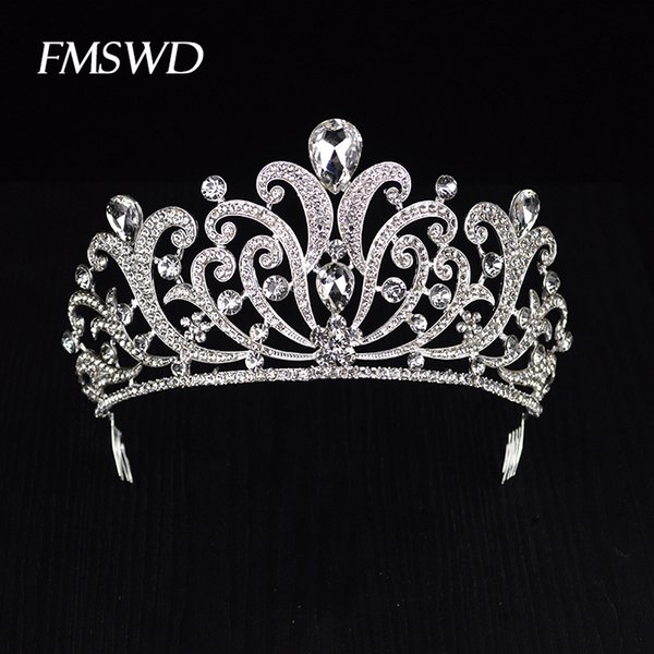 Trendy Gold Silver Color Crystal Luxury Large Queen Crown For Wedding Big Tiara Hair Jewelry For Bridal Hair Accessories Hg-060 Y19051302