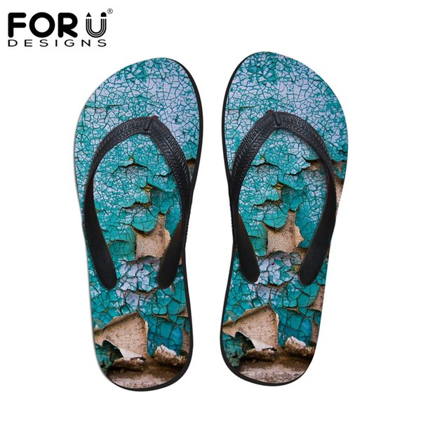 FORUDESIGNS Men's Summer Slippers Cool Summer Beach Flip Flops Patch Men Wear Rubber Flip Flops Male Plus Size 39-44 Sandals