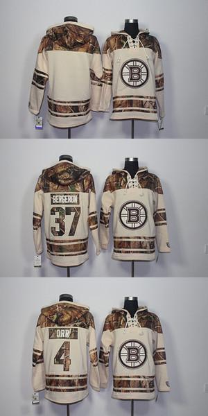 Mais recente dos homens Por Atacado Boston Bruins # 37 Bergeron # 4 Orr Em Branco Bege Com Capuz Jerseys Hóquei Hoodies Moletons
