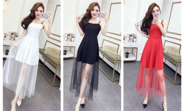 Summer 2019 Korean Sexy Women Wear Letters Sling Backless Evening Party Dresses Gauze Empire Long Skirt QC0184