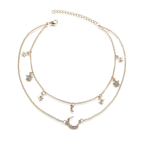 Vintage Multilayer Crystal Pendant Necklace Women Gold Color Beads Moon Star Horn Crescent Choker Necklaces Jewelr N1516