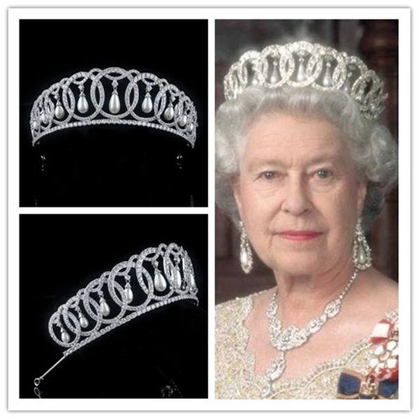 Prinzessin Königin Diana Krone Tiara Hochzeit Braut Stirnband Schmuck Haarschmuck Zirkon Kopfschmuck Süßwasser Perle Kopfschmuck Ornament Silber