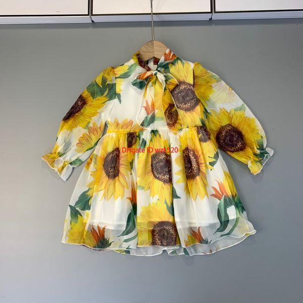 Girls dress kids designer clothing autumn fashion new sunflower pattern design dresses light fabric lining cotton sweet dresses
