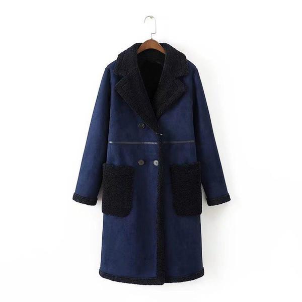 Women's Faux Fur Winter Warm Fake Fur Jacket Double Breasted Long Sleeve Casual Jacket Women Coat manteau femme hiver