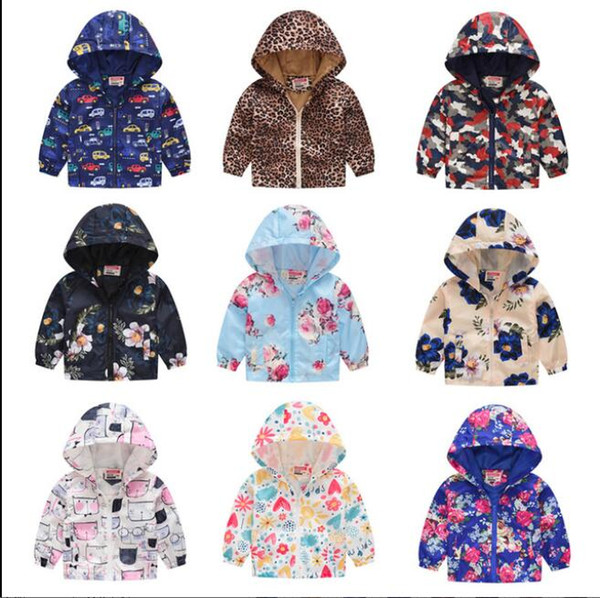 2019 Brand Autumn Kids Jackets Girls Boys Zipper Windbreaker Coat Leopard Dinosaur Waterproof Hoodies 2-7 Years Girls Jackets 39 Styles