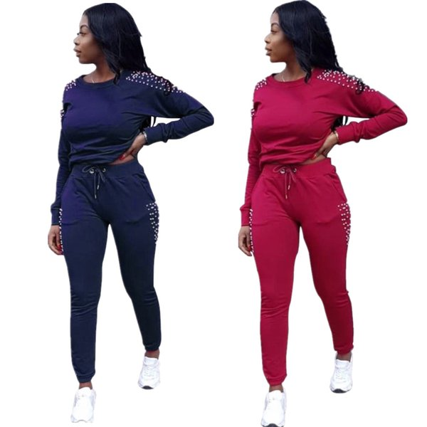 Women Casual Tracksuit with Pearl Solid Color 2 Piece Set Hoodie and Pants Womens Outfit Sweatsuits Gym Sports Suits Clothes