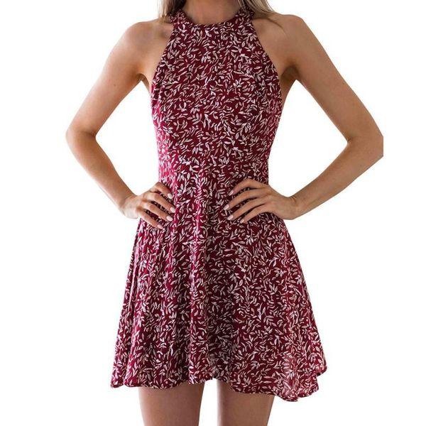Kadın Elbise 2019 Plaj Yaz Elbiseler Şifon Baskı O-Boyun Spagetti Kayışı Backless Bandaj Bohemian Vintage Vestido