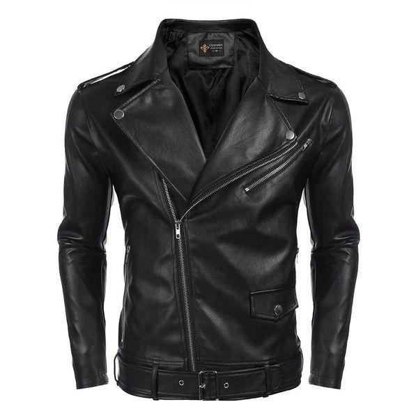 Men Turn Down Collar PU Leather Full Zip Solid Casual, Cycling Slim Fit Motorcycle Jacket w/ Pocket, Jakcet Belt