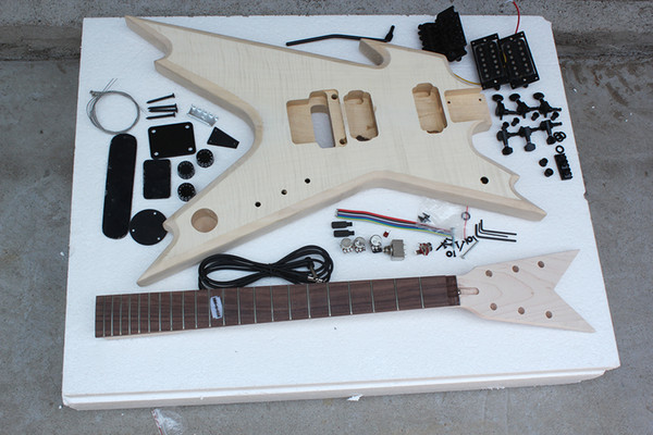 best selling Factory Custom Natural Wood Unusual Shape Electric Guitar Kit(Parts) with Floyd Rose,Chrome Hardwares,Semi-finished Guitar,Offer Customized