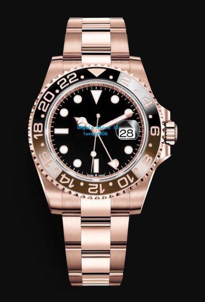 Роскошные часы Rose GoldSilver GMT Work Автоматические часы Мужчины Цвет буксировки Керамическая рамка Черный циферблат Сапфир Спортивные стальные часы 40 мм
