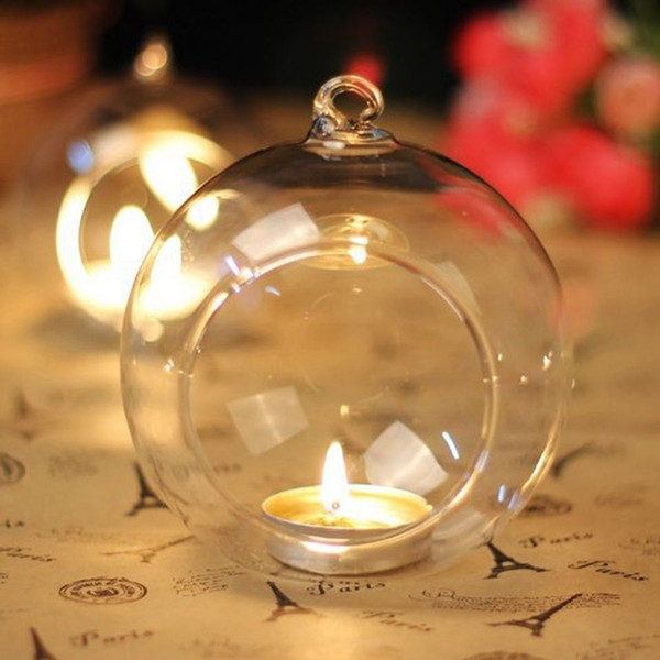 best selling 10cm Hanging Glass Candle Holders Glass Ball Tea Light Holders Wedding Candlestick Hanging Glass Indoor Planter Terrariums For Home Decor