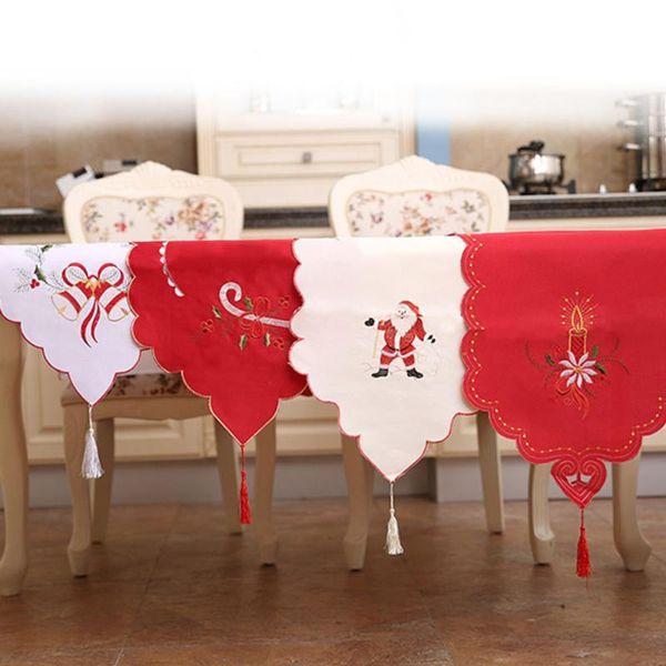 Camino de mesa navideño Cubiertas florales a prueba de polvo de encaje floral Decoración navideña de Navidad para el hogar Manteles de año nuevo de Natal