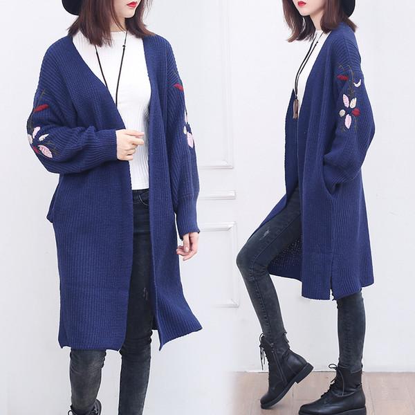 Cardigan largo suéter de punto de manga larga cardigans otoño invierno para mujer suéteres 2018 ropa de mujer