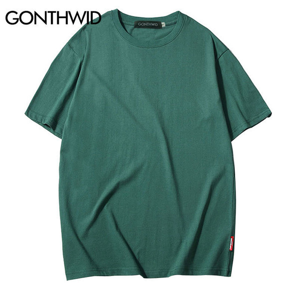 Gonthwid Casual Cotton Solid Tshirts Men Women Hip Hop Crewneck Short Sleeve Blank Streetwear Tops Tees Summer Male T Shirts 3xl Y19060601