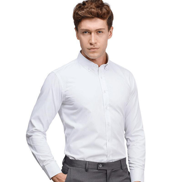 White Button Collar Mens Formal Business Dress Shirts Twill Solid Color Asian Size High Quality Office Clothing