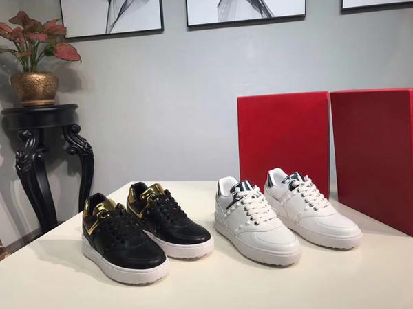 Le belle scarpe degli appartamenti delle donne di stile di alta qualità merlettano le scarpe da tennis degli zecchini di modo del cuoio genuino + SCATOLA trasporto libero