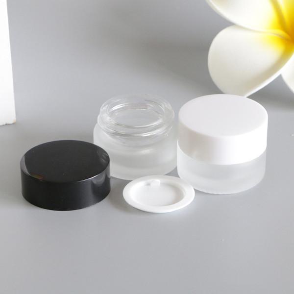 60 unids 5 g Transparente Frosted Glass Whitening Cream Jars Loción de maquillaje líquido Mascarilla Cuidado de la piel Cosméticos vacíos Contenedores
