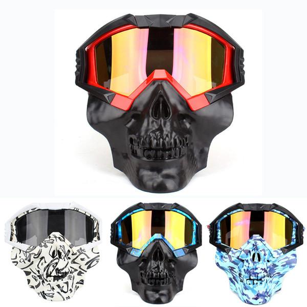 Moto amovible tactique du visage Lunettes masque Moto vent étanche à la poussière Racing Casque de vélo Lunettes de protection Masque anti-UV