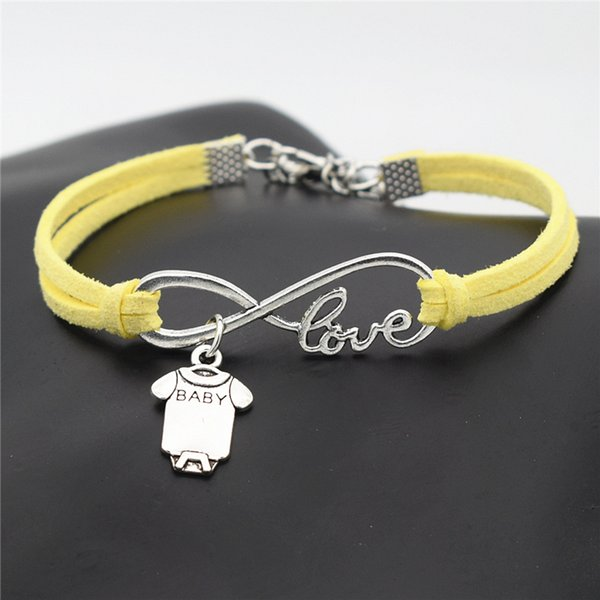 Couples Infinity Love Cute Baby Short Sleeve Clothes T-shirt Romper Pendant Charm Bracelets Yellow Leather Suede Rope Woman Men Jewelry Gift