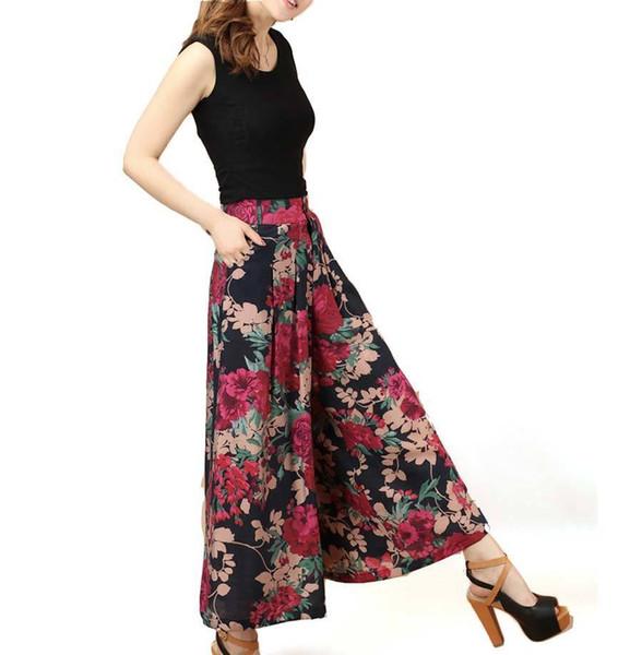 Tallas grandes 2016 Nuevas Mujeres Sueltas Pantalones Estampados de Moda de Algodón de Verano Pantalones de Pierna Ancha Culottes Ce226