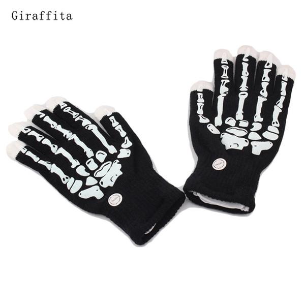 1 paio Skull Flash punta delle dita LED dei guanti unisex Light Up Glow Stick Guanti Mittens punta delle dita Led luminoso