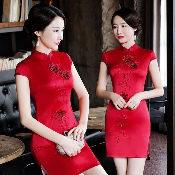 Nuovo arrivo cinese delle donne di seta rayon qipao classico fiore cheongsam sexy mini vestito abbigliamento estivo s m l xl xxl xxxl