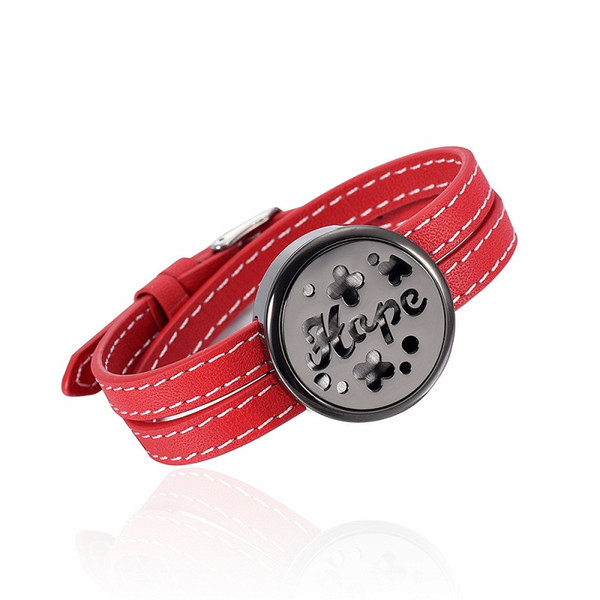 IJC0010 Stainless Steel Red Leather Strap Gun Dial Aromatherapy Bracelet Essential Oils Diffuser Perfume Free12 Pads Bracelet