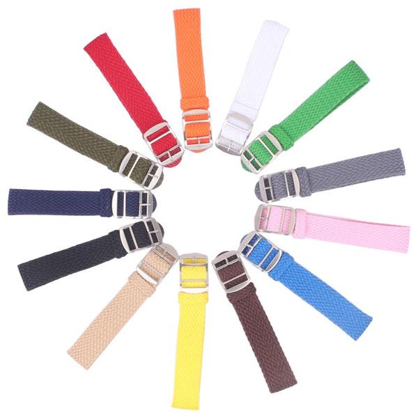 10pcs al por mayor 14mm 16mm 18mm 20mm 22mm color sólido Perlon Tejido Nylon correas de reloj pulsera tejido Tejido Correa de Reloj Hebilla