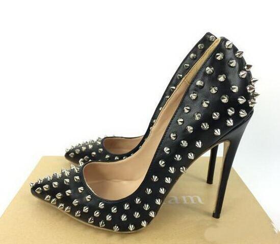 Venda quente-de alta qualidade mulheres de salto alto sapatos rebites roxo saltos de patentes senhora sapatos de casamento lRed Inferior sapatos de salto alto + logotipo + caixa
