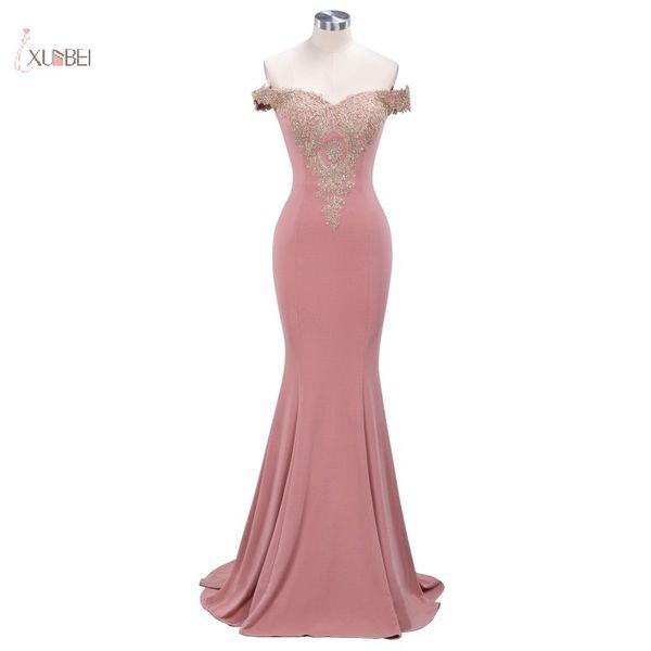 Abiti lunghi da ballo Pink Mermaid 2019 Elegant Off The Shoulder Abito senza maniche oro applique da gala